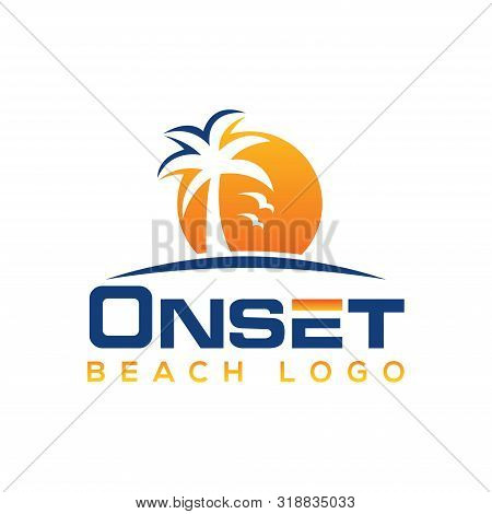 Palm Tree Icon Of Summer And Travel Logo Vector Illustration Design, Beach Logo Design Vector, Sunse