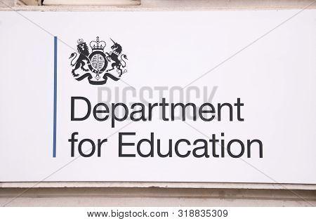 London England - June 4, 2019: Unidentified People Visit Department For Education London Uk