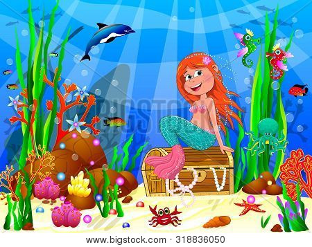 The Little Mermaid Underwater Among Sea Creatures And Underwater Plants. The Little Mermaid Is Sitti