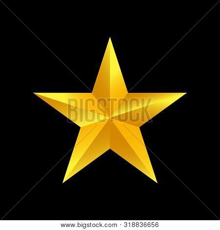 Gold Star Shape Isolated On Black Background. Golden Star Icon. Gold Star Logo, Image Of Golden Star