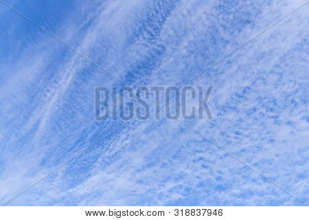 The Vast Blue Sky, Clouds Sky. Blue Sky Background With Tiny Clouds. Sky Panorama. Beautiful Sky. Sk