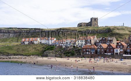 Whitby, North Yorkshire, England - Aug 24, 2019:,uk.the Harbour At Whitby On Yorkshire Coast,view Of
