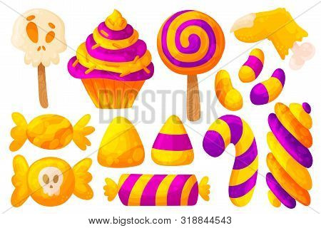 Set Of Halloween Candies And Sweets. Cartoon And Flat Style. Vector Illustration Isolated On White B