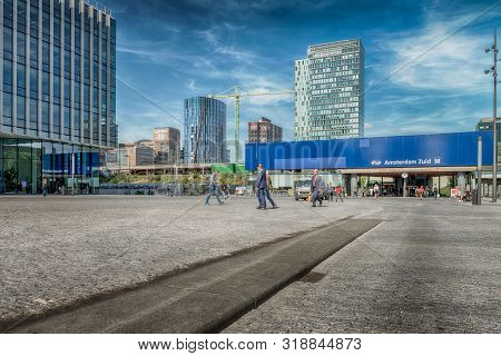 Amsterdam, Gustav Mahlerplein, The Netherlands, 08/23/2019, Train Station Zuid Wtc, Sky Scrapers, Mo