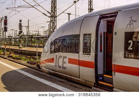 Stuttgart,germany - August 25,2019:main Station This Is An Ice Train Of Deutsche Bahn And It Is One