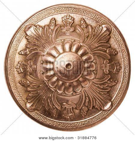 Vintage metal ornamental detail, isolated.