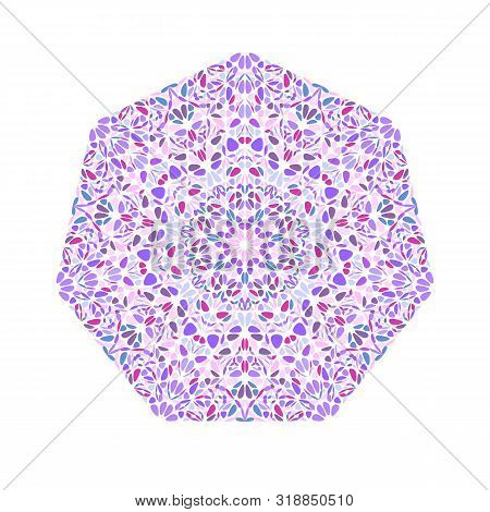 Abstract Floral Heptagon Symbol Template - Colorful Ornamental Geometrical Geometric Vector Design E