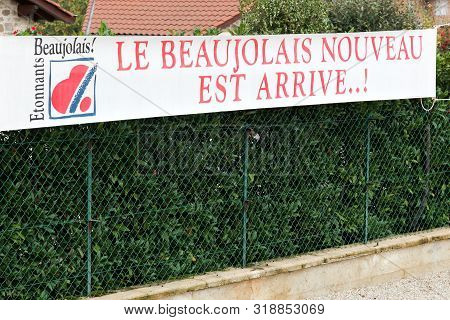 Cercie, France - November 20, 2018: Banner With New Beaujolais Wine Is Arrived In French Language