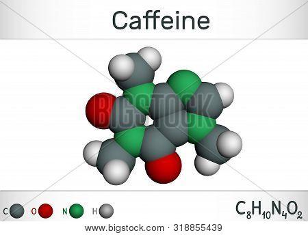 Caffeine Alkaloid Molecule. Structural Chemical Formula And Molecule Model. Molecule Model. Illustra