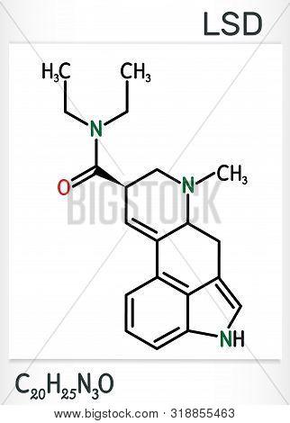 Lysergic Acid Diethylamide, Lsd Molecule. It Is A Hallucinogenic Drug. Structural Chemical Formula.
