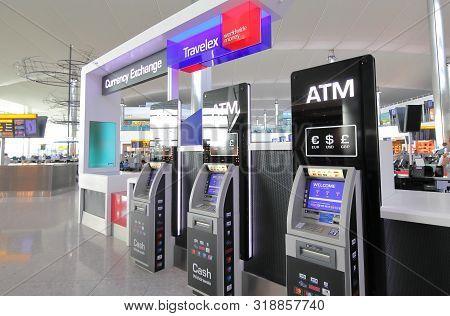 London England - June 6, 2019: Atm Cash Dispenser Heathrow Airport London England