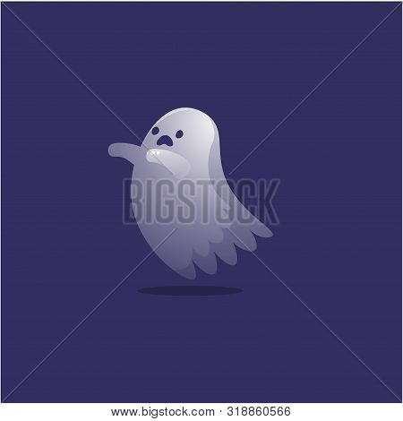 Frightened Ghost. Raster Illustration In The Flat Cartoon Style