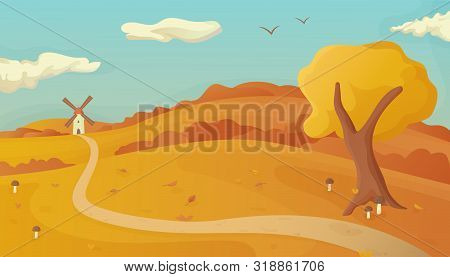 Autumn Landscape With Mushrooms And Fallen Leaves Background