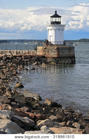 Portland, Main - August 10, 2019: Portland Breakwater Lighthouse (bug Light) Is A Small Lighthouse A