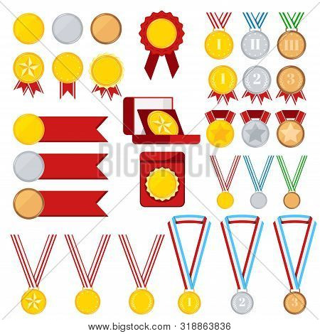 Medals Set Isolated On White Background: Golden, Silver, Bronze Medal With Red, Stripped, Blue, Gree