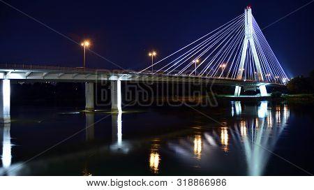 Warsaw, Poland. 25 August 2019. Swietokrzyski Bridge In Night
