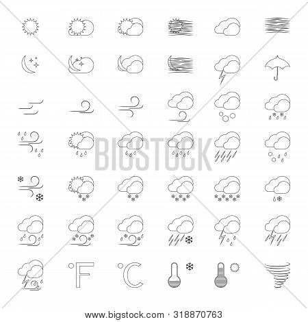 Vector Set Of 42 Weather Line Icons. Sunny, Snowy, Windy, Rainy, Blizzard, Storm And Other Symbols F