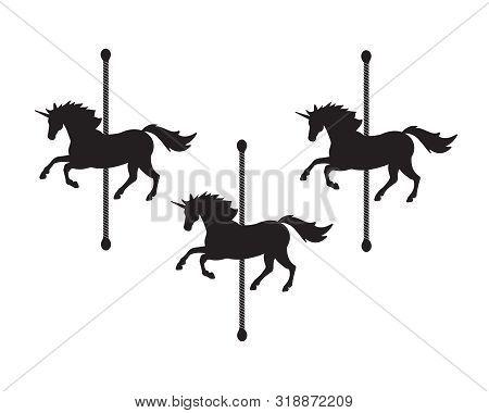 Vector Flat Black Unicorn Horse Carousel Silhouette Isolated On White Background