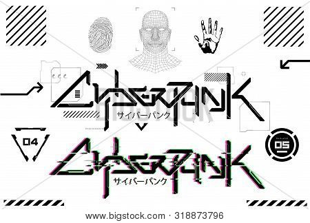 Cyberpunk Futuristic Lettering For T-shirt And Merch. Tech Design Elements. Silkscreen Clothing, Log
