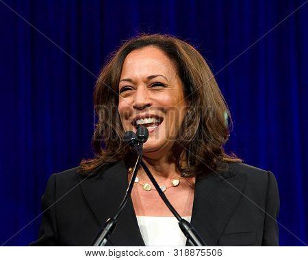 San Francisco, Ca - August 23, 2019: Presidential Candidate Kamala Harris Speaking At The Democratic