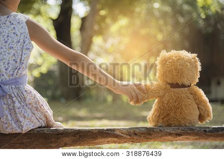 Teddy Bear Is A Best Friend For All Little Cute Girl. Child Autism Can Be More Happy And Fun When Th