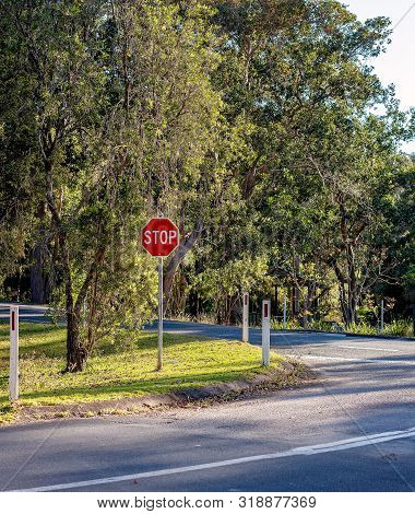 Stop Sign For Motorists Turning Onto A Busy Road In An Australian Tropical Rainforest