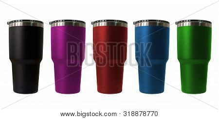 Stainless Steel Travel Tumbler Colour Black, Pink, Blue, Red And Green, Size Portable Isolated On Wh