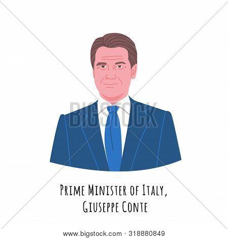 Giuseppe Conte Hand Drawn Color Portrait Illustration. The Italian Republic Prime Minister. Respecta