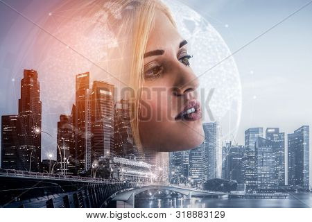 Double Exposure Image Of Business Person On Modern City Background. Future Business And Communicatio