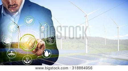 Wind Turbine Double Exposure Graphic Interface.