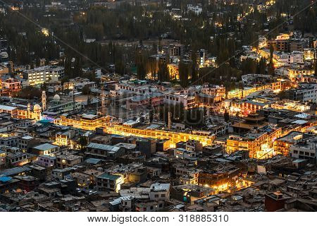 Beautiful City Landscape In Night Time Of Leh Ladakh District ,norther Part Of India