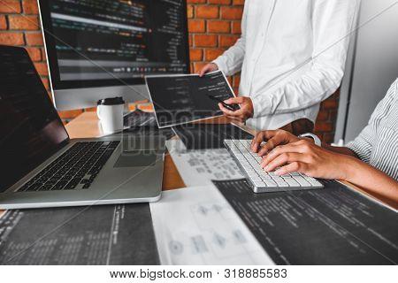 Developing Programmer Reading Computer Codes Development Website Design And Coding Technologies.