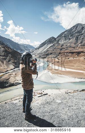 View Of Indus And Zanskar Rivers In Leh Ladakh, India