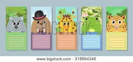 Collection Of Labels For Children. Set Of Vector Tags With Animals: Koala Walrus Giraffe Toad Leopar