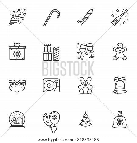 Christmas Party Line Icons Set. Linear Style Symbols Collection, Outline Signs Pack. Vector Graphics