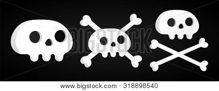 3 Simple Flat Style Design Sculls With Crossed Bones Set Icon Sign Vector Illustration Isolated On B