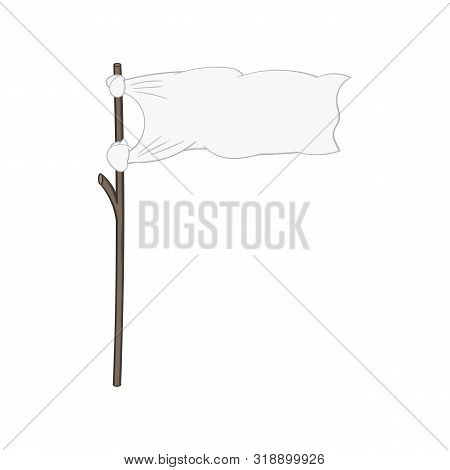 White Flag On A Stick. Isolated Illustration On A White Background In Cartoon Style. Design Element.