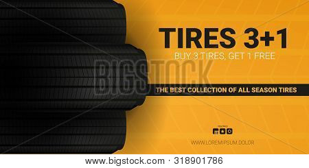 Tires Car Advertisement Poster. Black Rubber Tire On The Background With Wheel Tire Tracks.