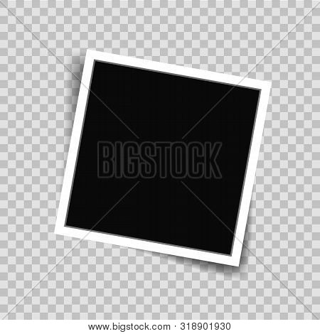 White Photo Frame Picture In Mockup Style. Photo Frame Template On Transparent Background For Photog