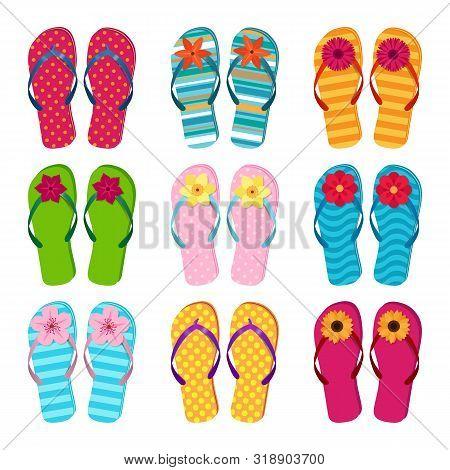 Vector Set Of Colored Summer Flop Flops
