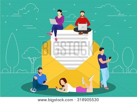 Symbol Newsletter Concept. People Using Mobile Gadgets Such As Tablet Pc And Smartphone For E Mails