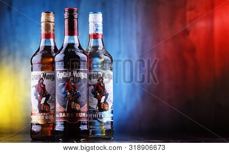 Poznan, Pol - Aug 21, 2019: Bottles Of Captain Morgan, A Brand Of Rum Originated On Us Virgin Island