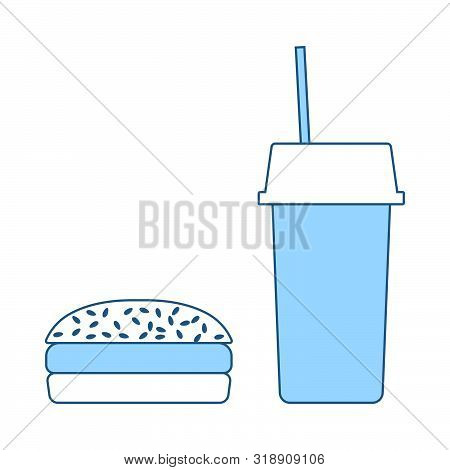 Fast Food Icon. Thin Line With Blue Fill Design. Vector Illustration.