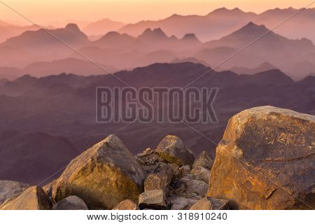 Amazing Sunrise At Sinai Mountain, Beautiful Dawn In Egypt, Early Morning View Of The Top Of Mount M