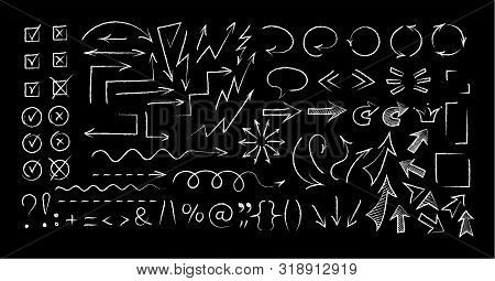 Sketchy Arrow Chalk Style Set Vector Illustration. Group Of Chalked Arrows And Checkboxes, Chalk Mar