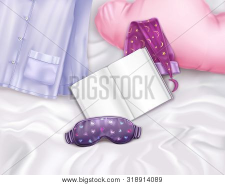 Realistic Composition With Sleep Accessories Pillow And Book On Bed Vector Illustration