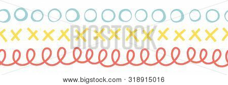 Seamless Doodle Border Vector Illustration. Repeating Pattern Abstract Hand Drawn. Ribbon Trim. Repe