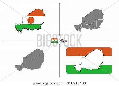 Map Of Niger With National Flag And State Regions In Vector Set