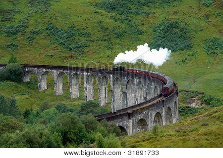 Glenfinnan Viaduct And Steam Train