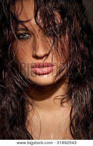 Perfect young model portrait in dark tones